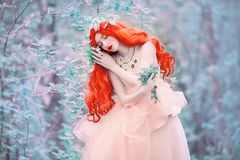Free Beautiful Redhead Fine Art Princess With Necklace On The Neck. Young Unusual Woman With Long Hair, Red Lips, Pale Skin On Bkue Spr Stock Image - 119923541