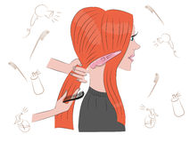 Beautiful redhead girl doing her hair. In the Barber shop Vector Illustration