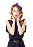 Beautiful redhead girl in dress. Royalty Free Stock Photo