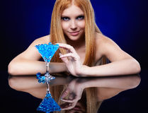 Beautiful redhead girl  with gel balls Royalty Free Stock Images