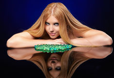 Beautiful redhead girl  with gel balls Stock Images