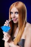 Beautiful redhead girl  with gel balls Stock Photo