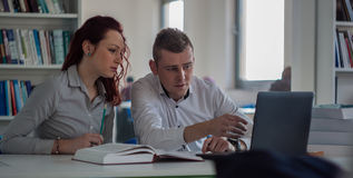 Beautiful redhead girl and handsome blond guy working on a proje Stock Photos