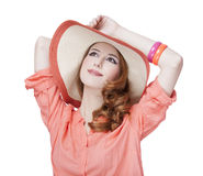 Beautiful redhead girl in hat Royalty Free Stock Photos