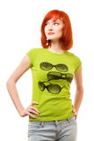 Beautiful Redhead Girl In Green T-shirt Royalty Free Stock Photos