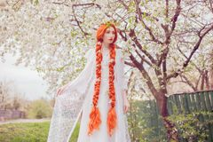 Beautiful redhead girl with plait on spring pastel background. Woman in pastel dress in garden on sakura background. Blooming stock images