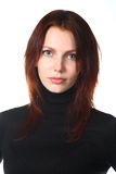Beautiful Redhead Girl Portrait. On white background Stock Images