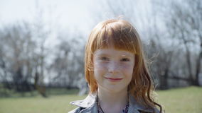 Beautiful redhead girl smiling stock video