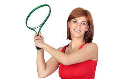 Beautiful redhead girl with a tennis racket Stock Photography
