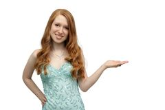 Beautiful Redhead with her Hand Out (2) Royalty Free Stock Photo