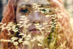 Free Beautiful Redhead Norwegian Girl With Big Eyes And Freckles On Face In The Forest. Portrait Of Redhead Woman Closeup In Nature Stock Photos - 132725383