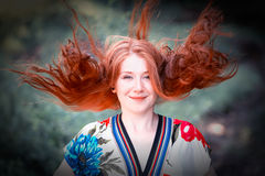 Beautiful redhead outdoor Stock Photography