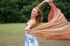 Beautiful Redhead Outdoors with Sheer Fabric (2) Stock Image