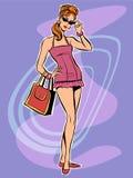 Beautiful redhead retro girl in short dress Royalty Free Stock Photo