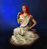 Beautiful Redhead Sexy Woman in Traditional Indian Sari Clothing Royalty Free Stock Photo
