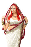Beautiful Redhead Sexy Woman in Traditional Indian Sari Clothing Royalty Free Stock Photos