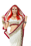 Beautiful Redhead Sexy Woman in Traditional Indian Sari Clothing Stock Photos
