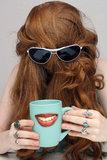 Beautiful Redhead with Smiling Coffee Mug Stock Photos