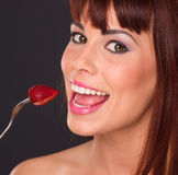 Beautiful Redhead Woman Food Fruit Strawberry Royalty Free Stock Image