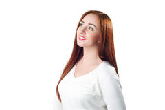 Beautiful redhead woman looking up Royalty Free Stock Images