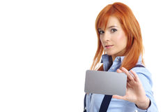 Beautiful redhead woman with notecard. Beautiful redhead businesswoman holding credit card Stock Images