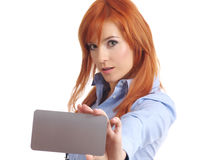 Beautiful redhead woman with notecard. Royalty Free Stock Images