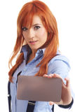 Beautiful redhead woman with notecard. Beautiful redhead woman with notecard over white Stock Photo