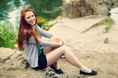 Beautiful redhead woman stock image
