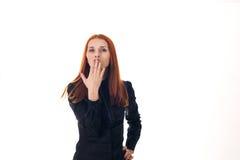 Beautiful redhead woman sends a kiss Stock Photography