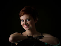 Beautiful redhead woman with short  hair Royalty Free Stock Images
