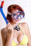 Beautiful redhead woman in snorkeling gear Royalty Free Stock Images