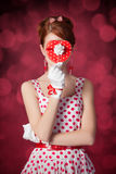 Beautiful redhead women with gift. Stock Photos
