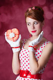 Beautiful redhead women with gift. Stock Images