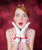 Beautiful redhead women. stock photo