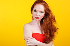 Beautiful redheaded girl with fashion makeup Stock Photography