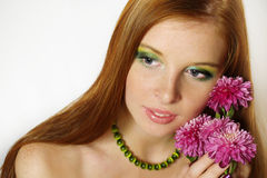 Beautiful redheaded girl  with flours Stock Photos