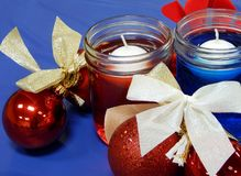 Bows and candle Centerpieces royalty free stock images