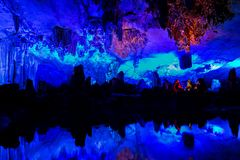 Beautiful Reed flute cave in Guilin, China. Stock Photos
