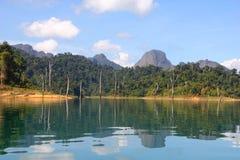 Beautiful reflecting island and sky at Khaosok National Park, su Stock Images