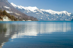 A beautiful reflection of the Alps on Lake, Interlaken, Swiss Royalty Free Stock Image