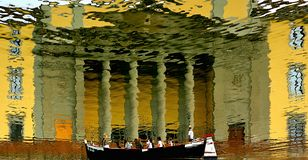 National Library of Florence. Reflection on the Arno. stock photo