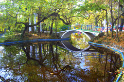 Beautiful reflection on park autumn pond. Autumn pond,bridge  and attractions in  amusement park .Fall  leaves covering the pond and ground on a fresh early Royalty Free Stock Photography