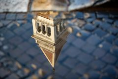 Beautiful reflection of a church building stock images