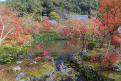 Beautiful reflection of Pagoda and Autumn Colors over pond of Japanese Buddhism Temple named Daigo-Ji Temple, Kyoto, Japan. Reflection of Tahoto Pagoda and Royalty Free Stock Photo
