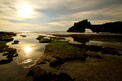 Sunset at Tanah Lot Bali Stock Photography
