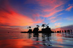 Beautiful reflection of sunset with sea Royalty Free Stock Photo