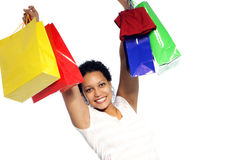 Rejoicing woman with her shopping Stock Photography