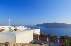 Beautiful relax sea view terrace, Santorini island, Greece Stock Photography