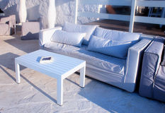 Beautiful relax terrace with white sofa, Grete, Greece. Royalty Free Stock Photos
