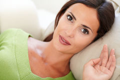 Beautiful relaxed lady resting peacefully indoors Royalty Free Stock Image